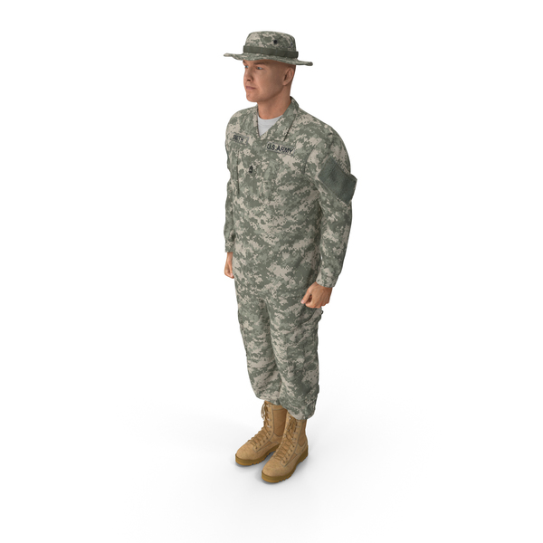 Man: US Soldier Standing at Attention PNG & PSD Images