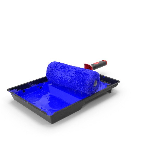 Drip: Used Paint Roller with Tray PNG & PSD Images