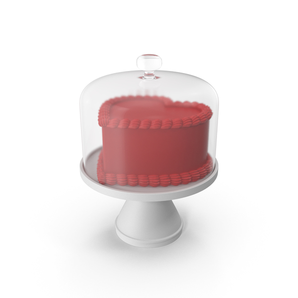 Valentines Day Cake with Glass Dome PNG & PSD Images