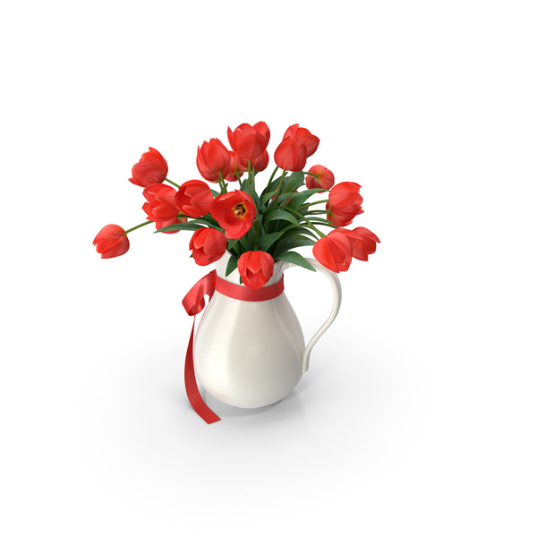 Tulip: Vase with Tulips Red PNG & PSD Images