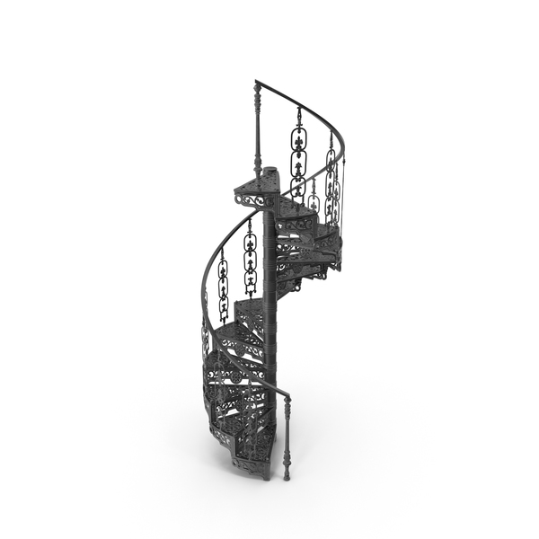 Staircase: Victorian Forged Spiral Stair PNG & PSD Images