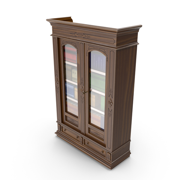 Victorian Wood Bookcase PNG & PSD Images