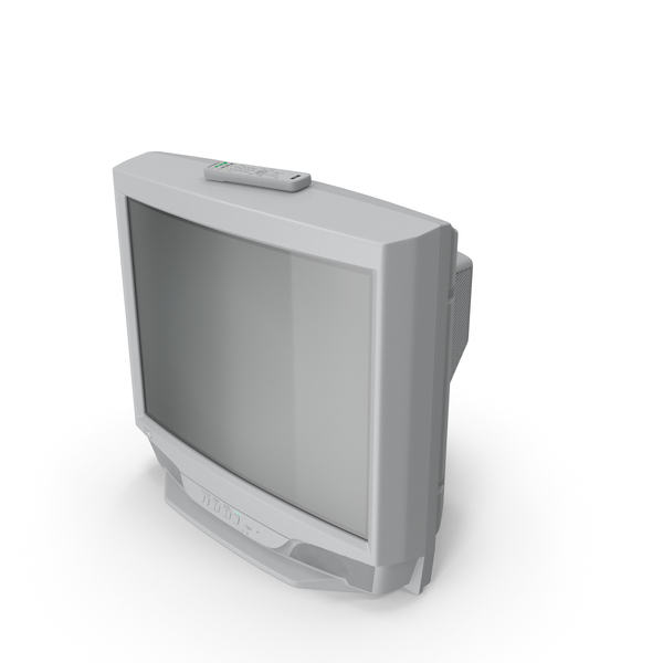 Vintage 00s CRT TV with IR Control Off PNG & PSD Images