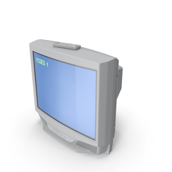 Vintage 00s CRT TV with IR Control On PNG & PSD Images
