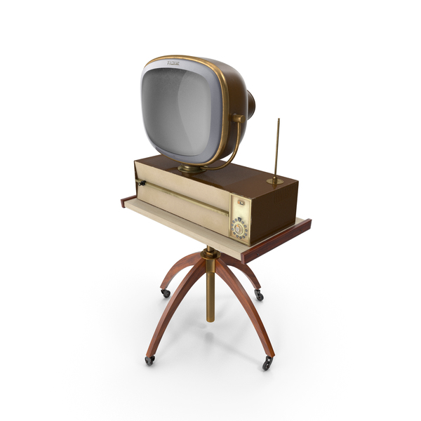 Vintage Antique 50s TV with Stand PNG & PSD Images