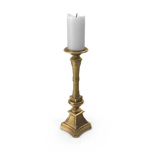 Vintage Brass Fluted Candlestick Holder PNG & PSD Images