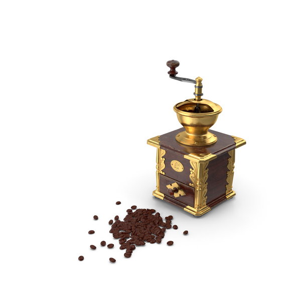Vintage Coffee Grinder with Coffee Beans PNG & PSD Images