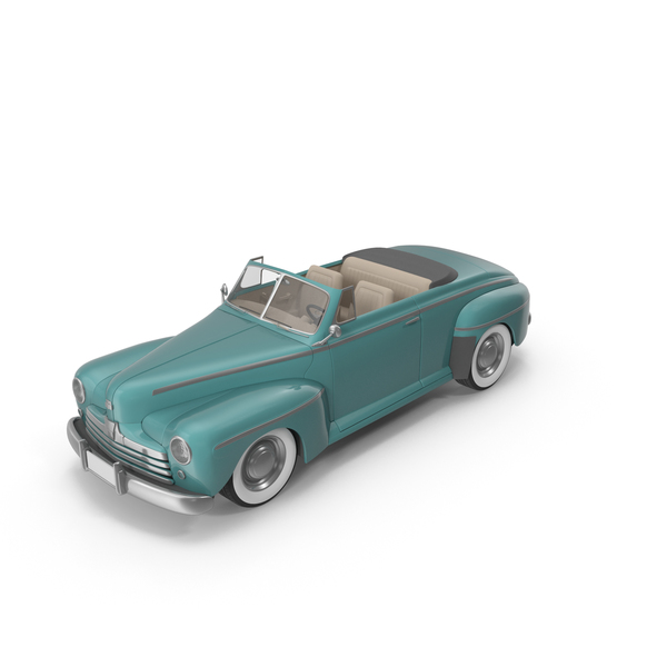 Vintage Convertible Car Turquoise PNG & PSD Images