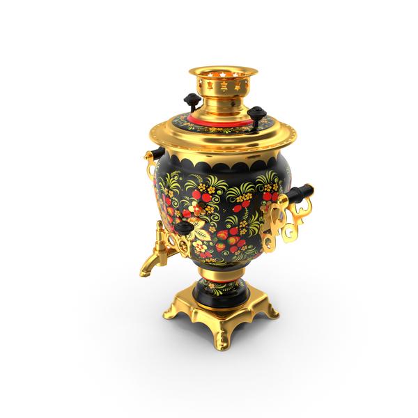 Vase: Vintage Khokhloma Samovar PNG & PSD Images
