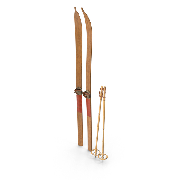 Vintage Long Skis & Poles PNG & PSD Images