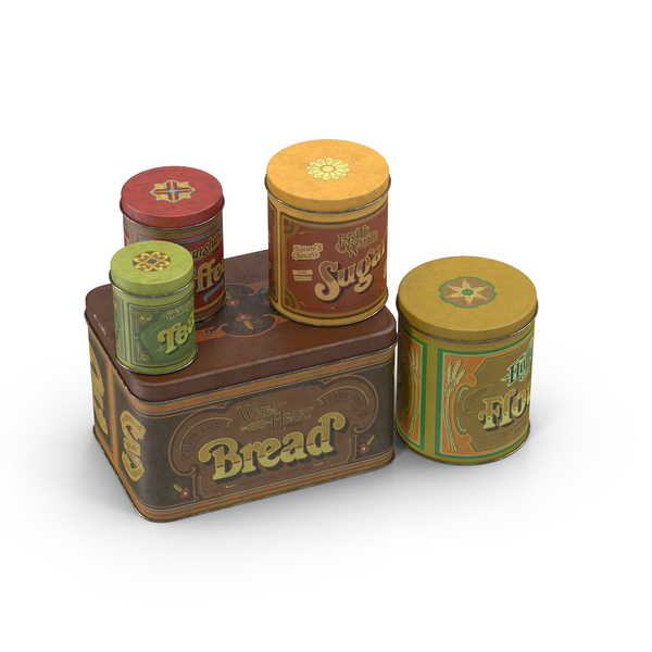 Vintage Metal Kitchen Tins PNG & PSD Images