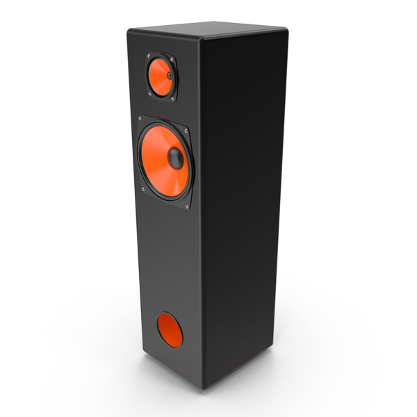 System: Vintage Orange Speaker Tower PNG & PSD Images