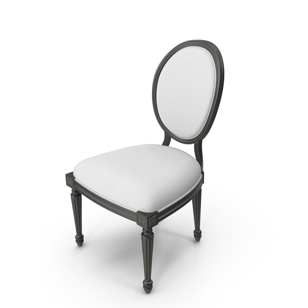 Arm: Vintage Wood French Round White Fabric Side Chair PNG & PSD Images