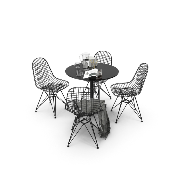 Vitra Wire Chair DKR Bistro Table PNG & PSD Images