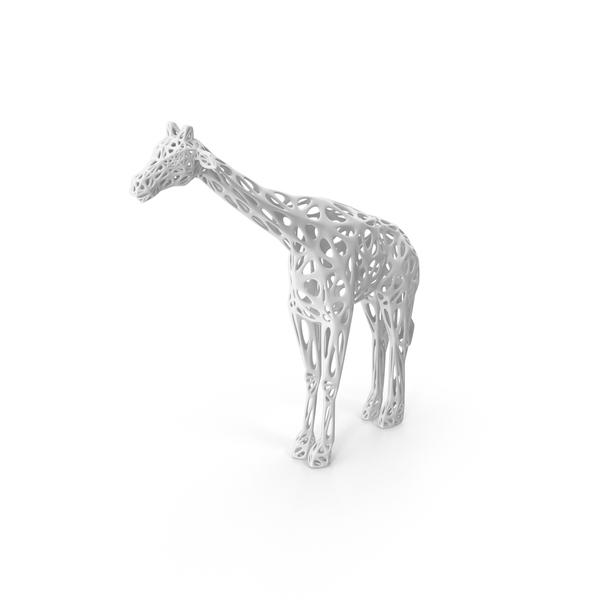 Voronoi Giraffe Sculpture PNG & PSD Images