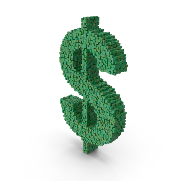 Voxel Dollar Sign PNG & PSD Images