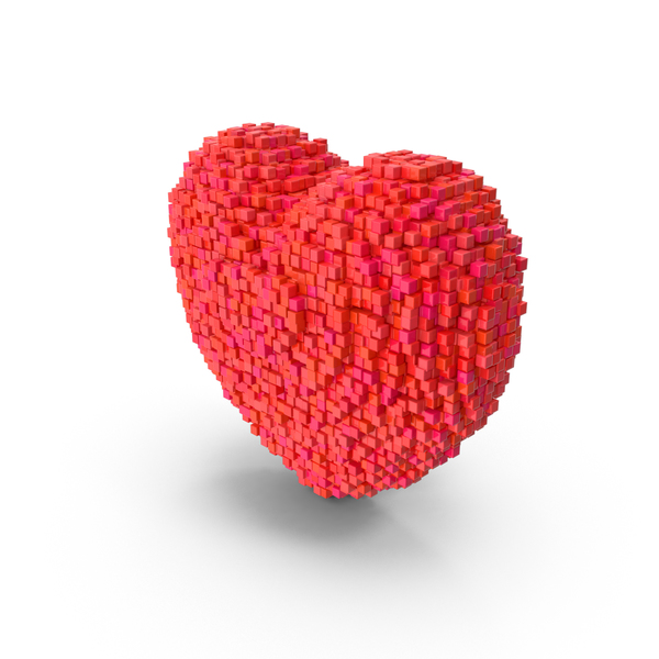 Voxel Heart PNG & PSD Images