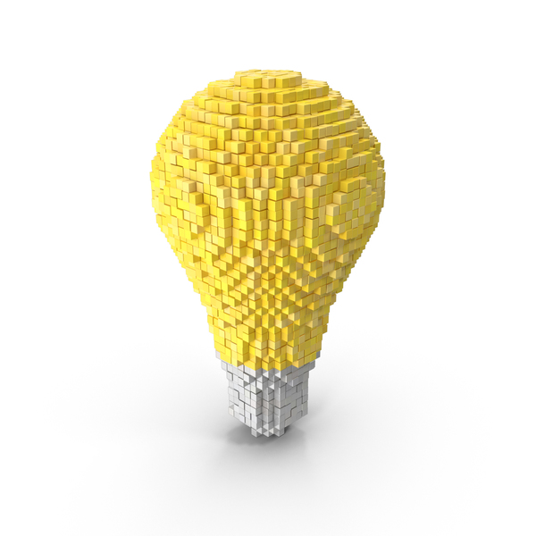 Voxel Light Bulb PNG & PSD Images