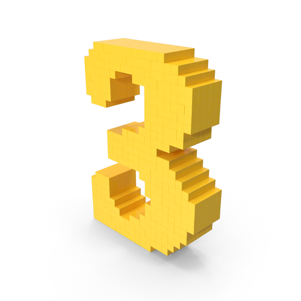 Voxel Number 3 PNG & PSD Images