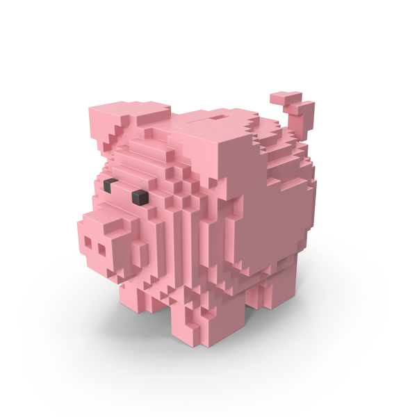 Voxel Piggy Bank PNG & PSD Images