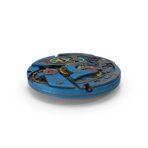 Clock: Watch Mechanism Blue Scratched PNG & PSD Images