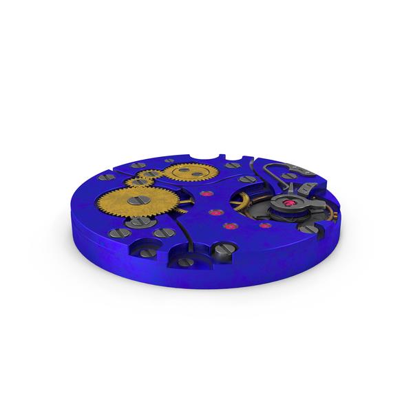 Clock: Watch Mechanism Dirty Blue PNG & PSD Images