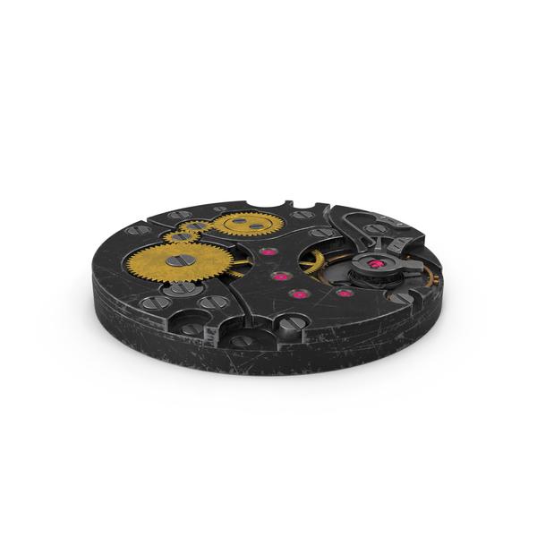 Clock: Watch Mechanism Scratched Black PNG & PSD Images