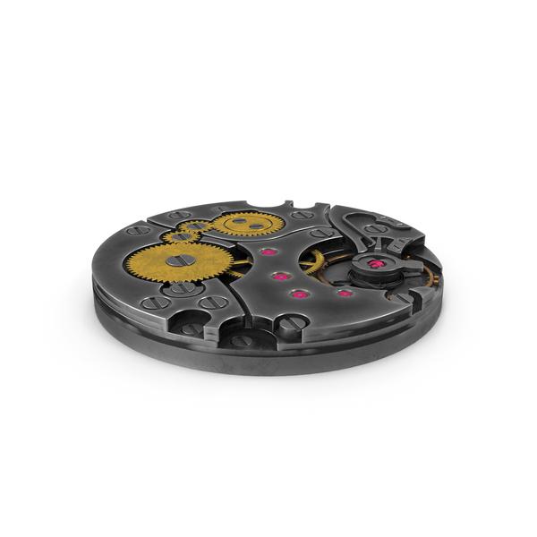 Clock: Watch Mechanism Steel Dark PNG & PSD Images