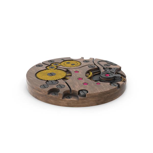 Clock: Watch Mechanism Wood PNG & PSD Images