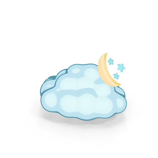 Weather Forecast Cartoon Night Partly Cloudy PNG & PSD Images