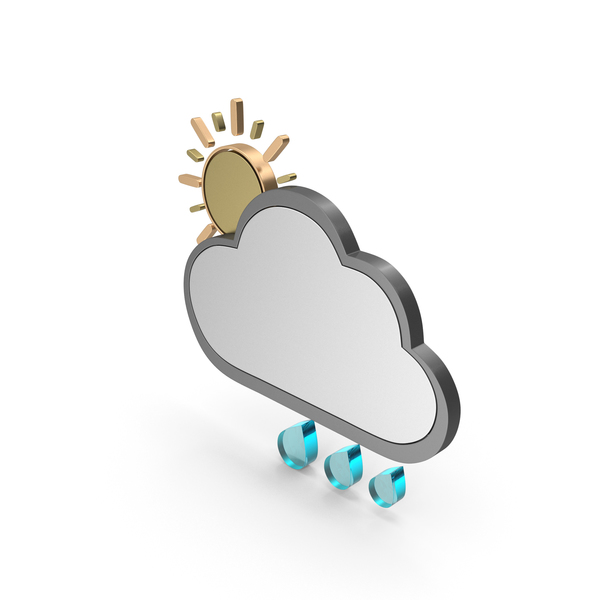 Meteorology Symbols: Weather Icon Partly Cloudy With Rain PNG & PSD Images