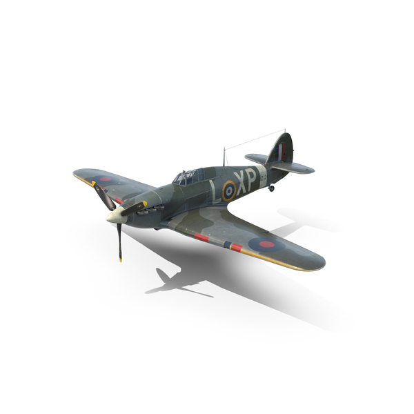 Fighter Propeller Plane: Weathered Hawker Hurricane PNG & PSD Images