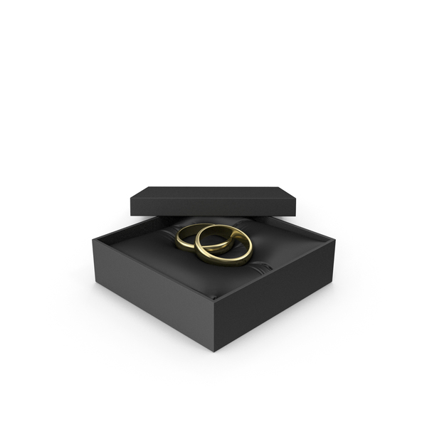 Wedding Gold Rings in a Gift Black Box PNG & PSD Images