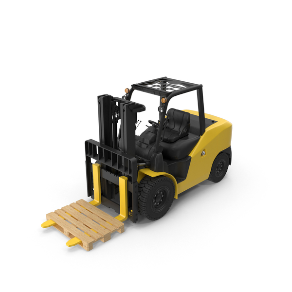 Forklift: Wheel Loader With Pallet PNG & PSD Images
