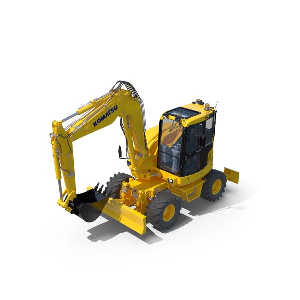 Wheeled Excavator Komatsu PW98MR-8 PNG & PSD Images