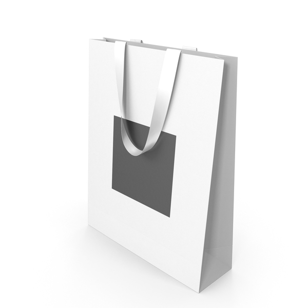 Gift: White and Black Paper Bag with White Handles PNG & PSD Images
