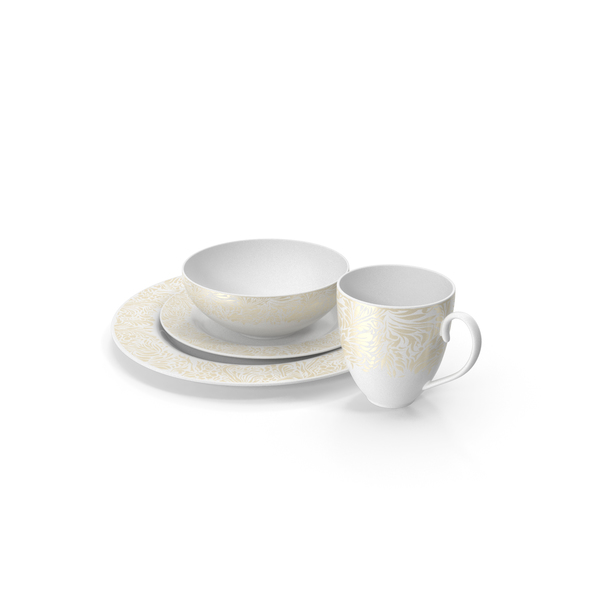 White and Gold Dinnerware Set PNG & PSD Images