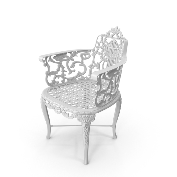 White Antique Victorian Cast Iron Rose Garden Chair PNG & PSD Images