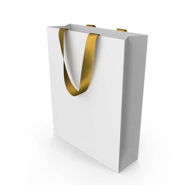 White Bag with Gold Ribbon Handles PNG & PSD Images