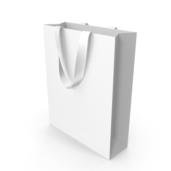 Gift: White Bag with White Ribbon Handles PNG & PSD Images