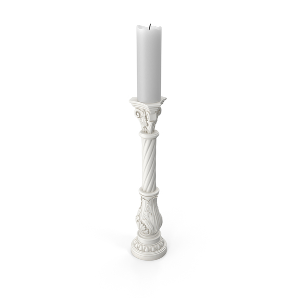White Baroque Candle Holder PNG & PSD Images