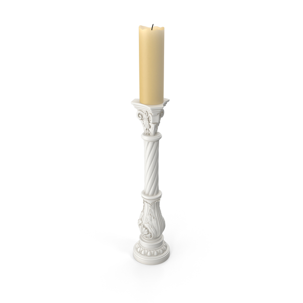 White Baroque Candlestick Holder PNG & PSD Images