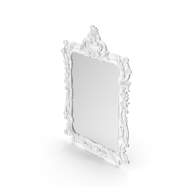 White Baroque Wall Mirror PNG & PSD Images