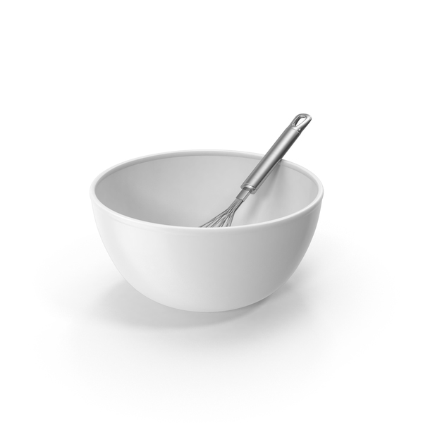 White Bowl and Balloon Whisk PNG & PSD Images