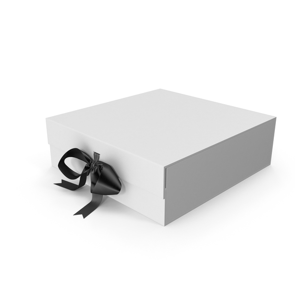 Gift Bow: White Box with Black Ribbon PNG & PSD Images