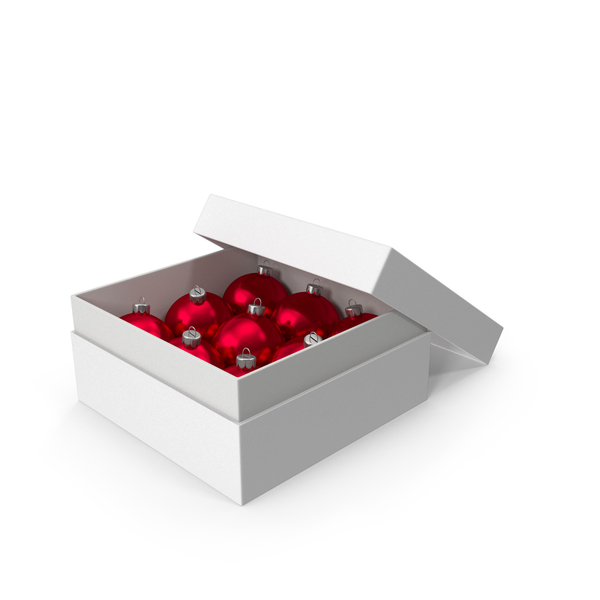 Christmas Ball: White Box With Ornaments PNG & PSD Images