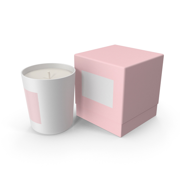 White Candle with Pink Box PNG & PSD Images
