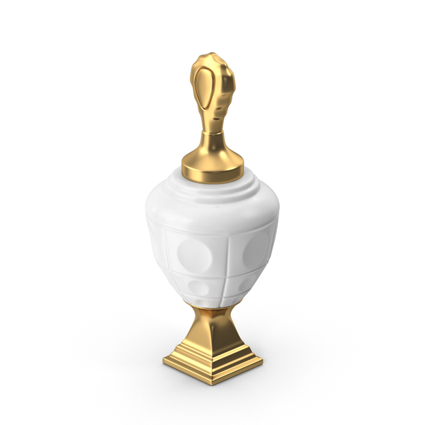 White Ceramic Urn with Gold Base and Lid PNG & PSD Images