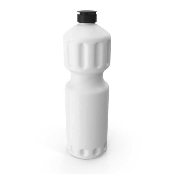 White Cleaning Product Bottle with Black Cap PNG & PSD Images