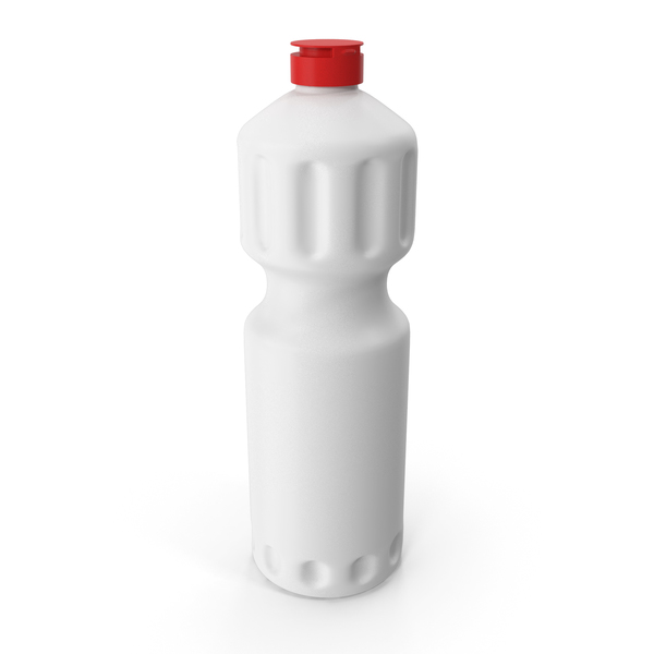 White Cleaning Product Bottle with Red Cap PNG & PSD Images